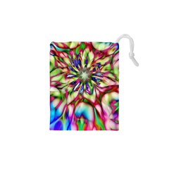 Magic Fractal Flower Multicolored Drawstring Pouches (XS)