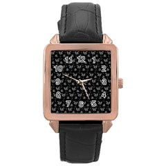 Floral pattern Rose Gold Leather Watch