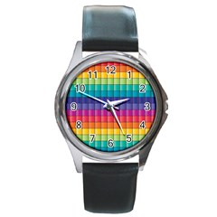Pattern Grid Squares Texture Round Metal Watch