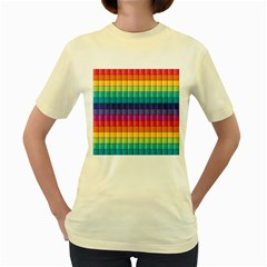 Pattern Grid Squares Texture Women s Yellow T-Shirt