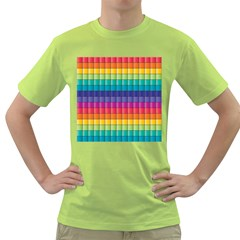 Pattern Grid Squares Texture Green T Shirt