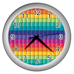 Pattern Grid Squares Texture Wall Clocks (silver)