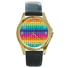 Pattern Grid Squares Texture Round Gold Metal Watch