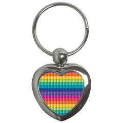 Pattern Grid Squares Texture Key Chains (Heart)