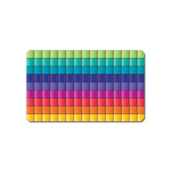 Pattern Grid Squares Texture Magnet (Name Card)