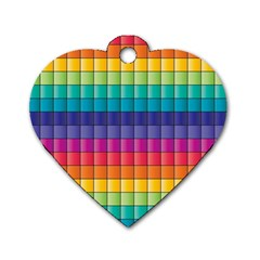 Pattern Grid Squares Texture Dog Tag Heart (one Side)