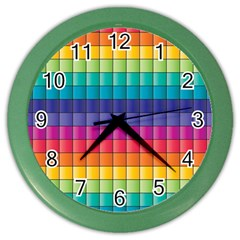 Pattern Grid Squares Texture Color Wall Clocks