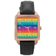 Pattern Grid Squares Texture Rose Gold Leather Watch