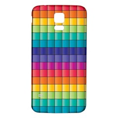 Pattern Grid Squares Texture Samsung Galaxy S5 Back Case (White)