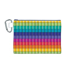 Pattern Grid Squares Texture Canvas Cosmetic Bag (M)