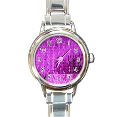 Purple Background Scrapbooking Paper Round Italian Charm Watch