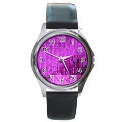 Purple Background Scrapbooking Paper Round Metal Watch