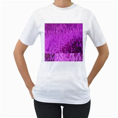 Purple Background Scrapbooking Paper Women s T Shirt (white) (two Sided)
