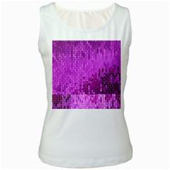 Purple Background Scrapbooking Paper Women s White Tank Top