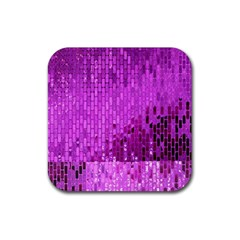 Purple Background Scrapbooking Paper Rubber Square Coaster (4 Pack)