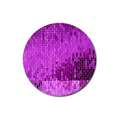Purple Background Scrapbooking Paper Rubber Round Coaster (4 Pack)
