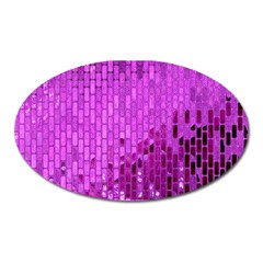 Purple Background Scrapbooking Paper Oval Magnet