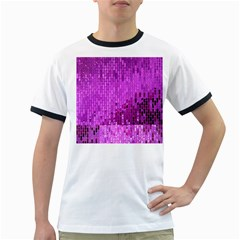 Purple Background Scrapbooking Paper Ringer T-Shirts