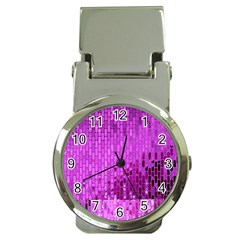 Purple Background Scrapbooking Paper Money Clip Watches