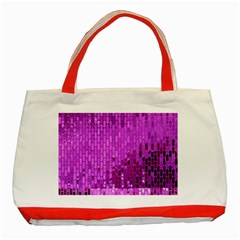 Purple Background Scrapbooking Paper Classic Tote Bag (red)