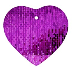 Purple Background Scrapbooking Paper Heart Ornament (two Sides)
