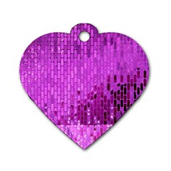 Purple Background Scrapbooking Paper Dog Tag Heart (one Side)