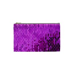 Purple Background Scrapbooking Paper Cosmetic Bag (small)