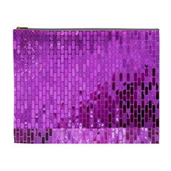 Purple Background Scrapbooking Paper Cosmetic Bag (xl)