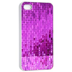 Purple Background Scrapbooking Paper Apple Iphone 4/4s Seamless Case (white)