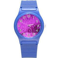 Purple Background Scrapbooking Paper Round Plastic Sport Watch (s)