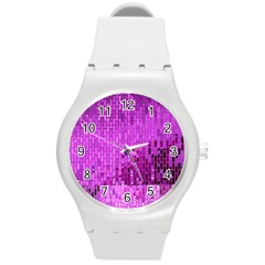 Purple Background Scrapbooking Paper Round Plastic Sport Watch (m)