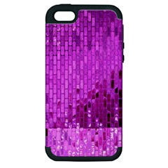Purple Background Scrapbooking Paper Apple Iphone 5 Hardshell Case (pc+silicone)