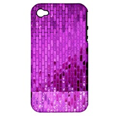 Purple Background Scrapbooking Paper Apple Iphone 4/4s Hardshell Case (pc+silicone)