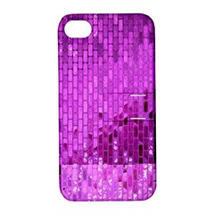 Purple Background Scrapbooking Paper Apple Iphone 4/4s Hardshell Case With Stand