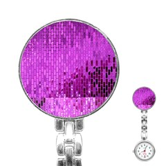 Purple Background Scrapbooking Paper Stainless Steel Nurses Watch