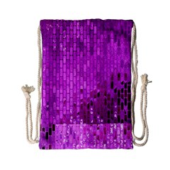 Purple Background Scrapbooking Paper Drawstring Bag (small)