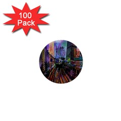 Downtown Chicago 1  Mini Buttons (100 pack)