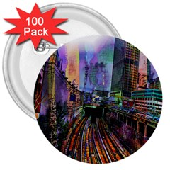 Downtown Chicago 3  Buttons (100 Pack)