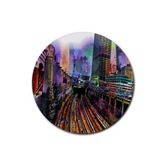 Downtown Chicago Rubber Round Coaster (4 Pack)