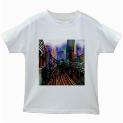 Downtown Chicago Kids White T Shirts