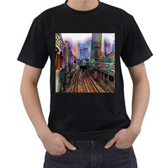 Downtown Chicago Men s T-Shirt (Black) (Two Sided)