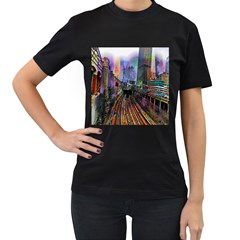 Downtown Chicago Women s T Shirt (black) (two Sided)