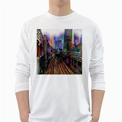 Downtown Chicago White Long Sleeve T Shirts
