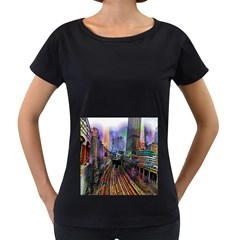 Downtown Chicago Women s Loose Fit T Shirt (black)