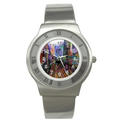 Downtown Chicago Stainless Steel Watch