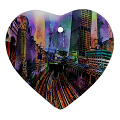 Downtown Chicago Heart Ornament (two Sides)