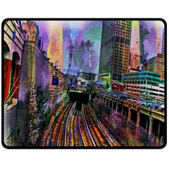 Downtown Chicago Fleece Blanket (medium)