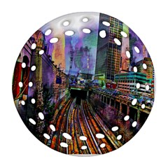 Downtown Chicago Round Filigree Ornament (Two Sides)