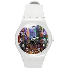 Downtown Chicago Round Plastic Sport Watch (m)