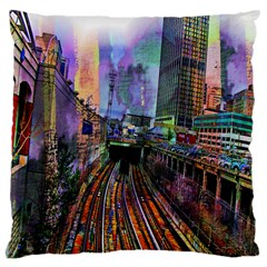 Downtown Chicago Large Cushion Case (two Sides)